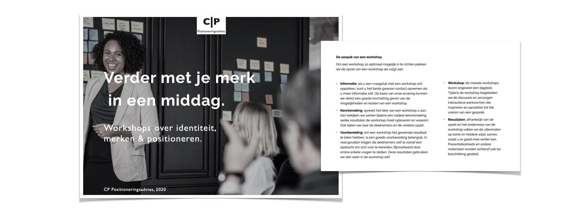 Brochure beeld aanvragen over Workshops positioneren en presentaties over merken